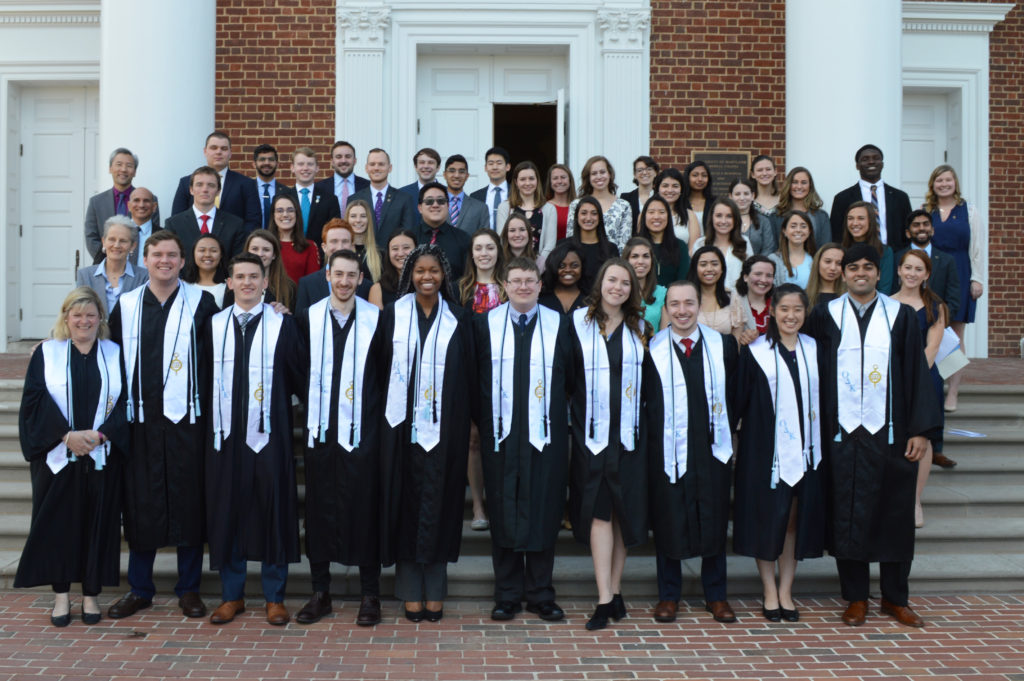 Newly inducted members of ODK Sigma Circle stand in front of the University Memorial Chapel